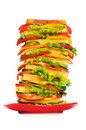 Plate with giant sandwich Stock Image