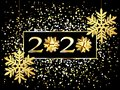 Plate with a gold frame, with metal numerals. 2020 new year. Brilliant snowflakes on the thread, highlights, flashing lights.