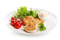 Plate of grilled chicken breast with vegetables Royalty Free Stock Photo