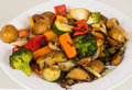 Plate of grilled vegetables a closeup image a white dinner with with different healthy there are mushroom gravy potatoes red Royalty Free Stock Photography