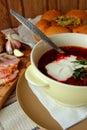 A plate of hot borscht Royalty Free Stock Photo