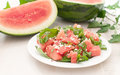 Plate with juicy watermelon salad Royalty Free Stock Images