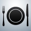 Plate knife and fork outline kitchen tool Stock Photography