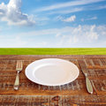 Plate with knife and fork over green meadow blue skies background Stock Image
