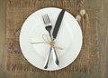 Plate, knife and fork tied with twine and dried flowers Royalty Free Stock Photo