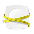 Plate with measuring tape diet theme Stock Photos