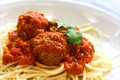Plate of meatball spaghetti Royalty Free Stock Photography