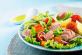 Plate with a mediterranean chicken salad tasty and healthy pine seeds lettuce cherry tomatoes onions basil and lemon on blue Royalty Free Stock Image