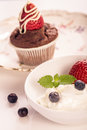 Plate muffin strawberry Stock Photo