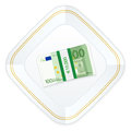 Plate and one hundred euro pack Stock Images