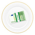 Plate and one hundred euro pack with on a white background Stock Image