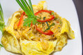 Plate of pad thai or phat thai in omelette Royalty Free Stock Photography