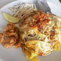Plate of pad thai or phat thai in omelette Stock Image