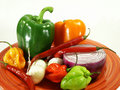 Plate of peppers Royalty Free Stock Image
