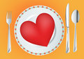 Plate with red heart Stock Photos