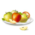 Plate with ripe apples illustration Royalty Free Stock Photo