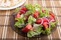 Plate with a salad of chopped tomato slices, lettuce and onion Royalty Free Stock Photo
