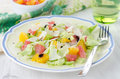 Plate of salad with citrus and cheese Royalty Free Stock Photography