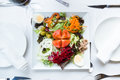 Plate of salad with fresh vegetables, hard boiled egg, tuna and green olives. Royalty Free Stock Photo