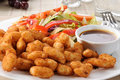 Plate of shrimp and salad Royalty Free Stock Photos