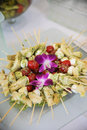 Plate of skewers Royalty Free Stock Images