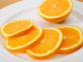 Plate of sliced navel orange juicy and delicious Stock Images