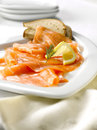 Plate of smoked salmon Royalty Free Stock Photography
