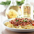 Plate of spaghetti and meat sauce Royalty Free Stock Photo