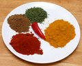 Plate of spices Stock Photo