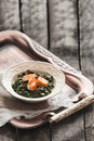 Plate of spinach and cheese curry saag paneer on a table Stock Photography