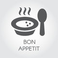 Plate with spoon flat icon. Portion of hot food with steam and wish bon appetit. Label for culinary design needs