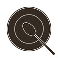 Plate and spoon illustration of Royalty Free Stock Photos