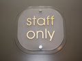 Plate with Staff Only indication Royalty Free Stock Photo