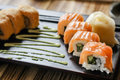 Plate sushi on restaurant table in lunch time Royalty Free Stock Photo