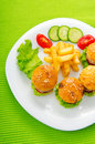 Plate with tasty  burgers Royalty Free Stock Photos