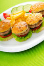 Plate with tasty  burgers Royalty Free Stock Photo