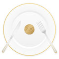 Plate and twenty euro cent Royalty Free Stock Photo