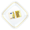 Plate and two hundred euro pack with on a white background Stock Image