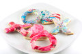 Plate of valentine s day sugar cookies in different shapes Royalty Free Stock Images