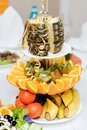 Plate various fruits restaurant Stock Image