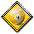 Plate yellow white pool billiard ball number 9 Royalty Free Stock Photo