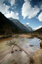 Plateau river with blue sky in sichuan of china Royalty Free Stock Photography