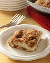 Plated coffee cake fresh baked on a white plate Stock Photos