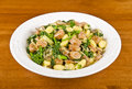 Plateful gnocchi rapini italian sausages crimini mushrooms onion Royalty Free Stock Images
