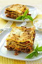 Plates of lasagna Stock Images