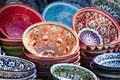 Plates and pots on a street market in the city of Bukhara, Uzbek Royalty Free Stock Photo