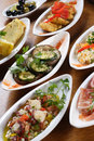Plates of Spanish tapas Royalty Free Stock Image