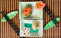 Plates with sushi and dumpling Royalty Free Stock Photos