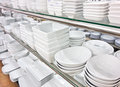 Plates in an utensil shop Royalty Free Stock Image