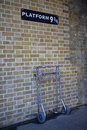 Platform 9 and 3/4 at Kings Cross Station Royalty Free Stock Images